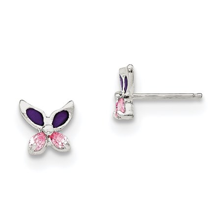 925 Sterling Silver Pink Cubic Zirconia Cz Enameled Post Stud Earrings Animal Butterfly Gifts For Women For Her