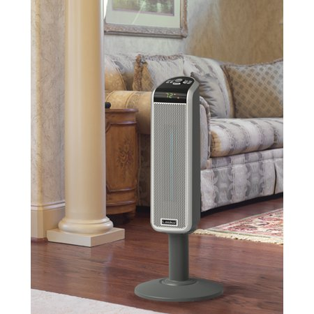 Lasko 1500W Ceramic Pedestal Space Heater with Remote, 5397, Black
