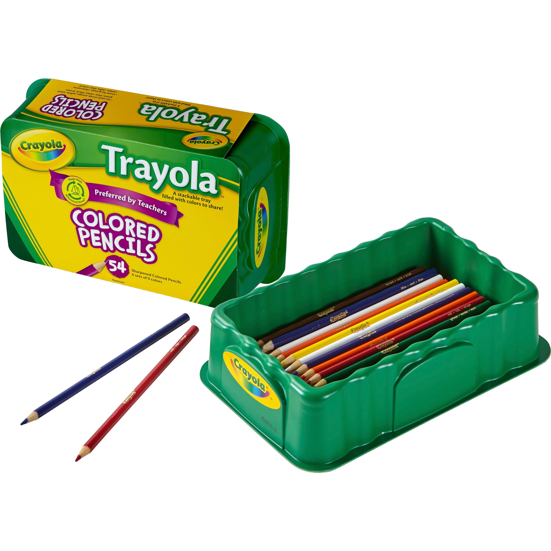 Crayola Trayola Bulk Colored Pencils Set, 54-Count, Storage Tray ...