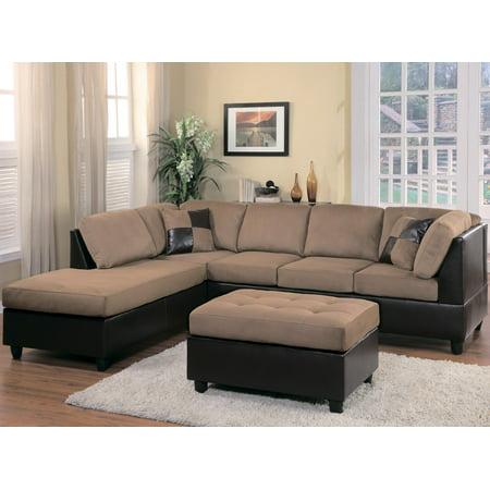 Homelegance Comfort Living Sectional Sofa in Brown & Dark Brown ...