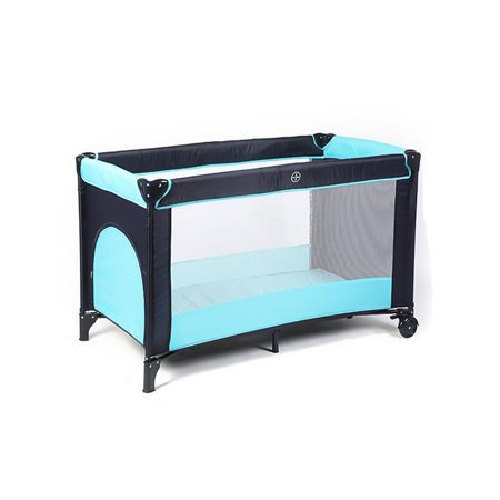 Foldable Baby Playard Bassinet Portable Baby Bed for Travel Playpen Toddler Crib w/2 Wheels Play Playard Bassinet
