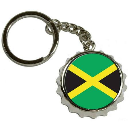 jamaica jamaican flag nickel plated metal popcap bottle opener keychain key ring. Black Bedroom Furniture Sets. Home Design Ideas