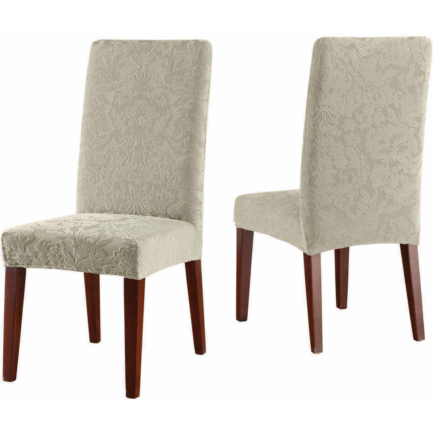 sure fit stretch jacquard damask short dining room chair autumn scroll damask dining room chair cover bed bath