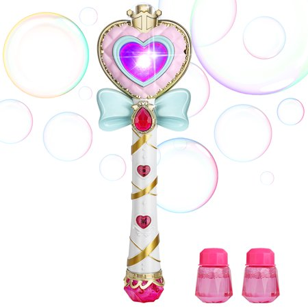 Bubble Toy Crystal Princess Magic Bar Bubble Stick Automatic Bubble Gun Machine Wand For Kids Light Music Bow Tie Girls Cute Toy