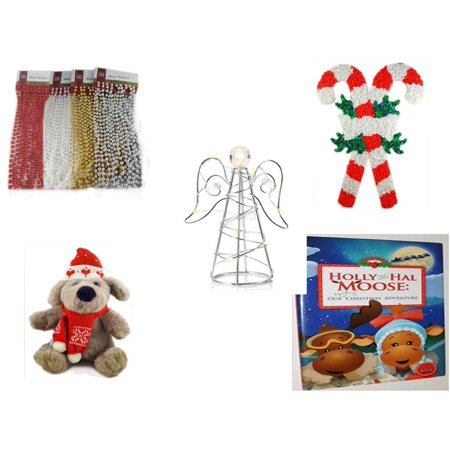 - Christmas Fun Gift Bundle [5 Piece] - Brite Star Assorted Bead Garland 18' Ft. Ea. - Vintage 1960's Kage Co. Melted Popcorn Candy Cane - RadioShack LED Desktop USB-Powered Wire Angel - Soft & Cuddly
