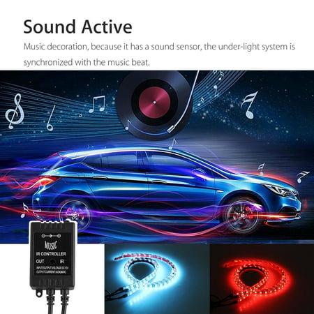 "YUNDAP 4Pcs 8 Colors Multicolor RGB IR Remote LED Strip Under Car Tube Underglow Music Sound Active Sensor Lights (36""x2, 24""x2) - image 8 of 9"