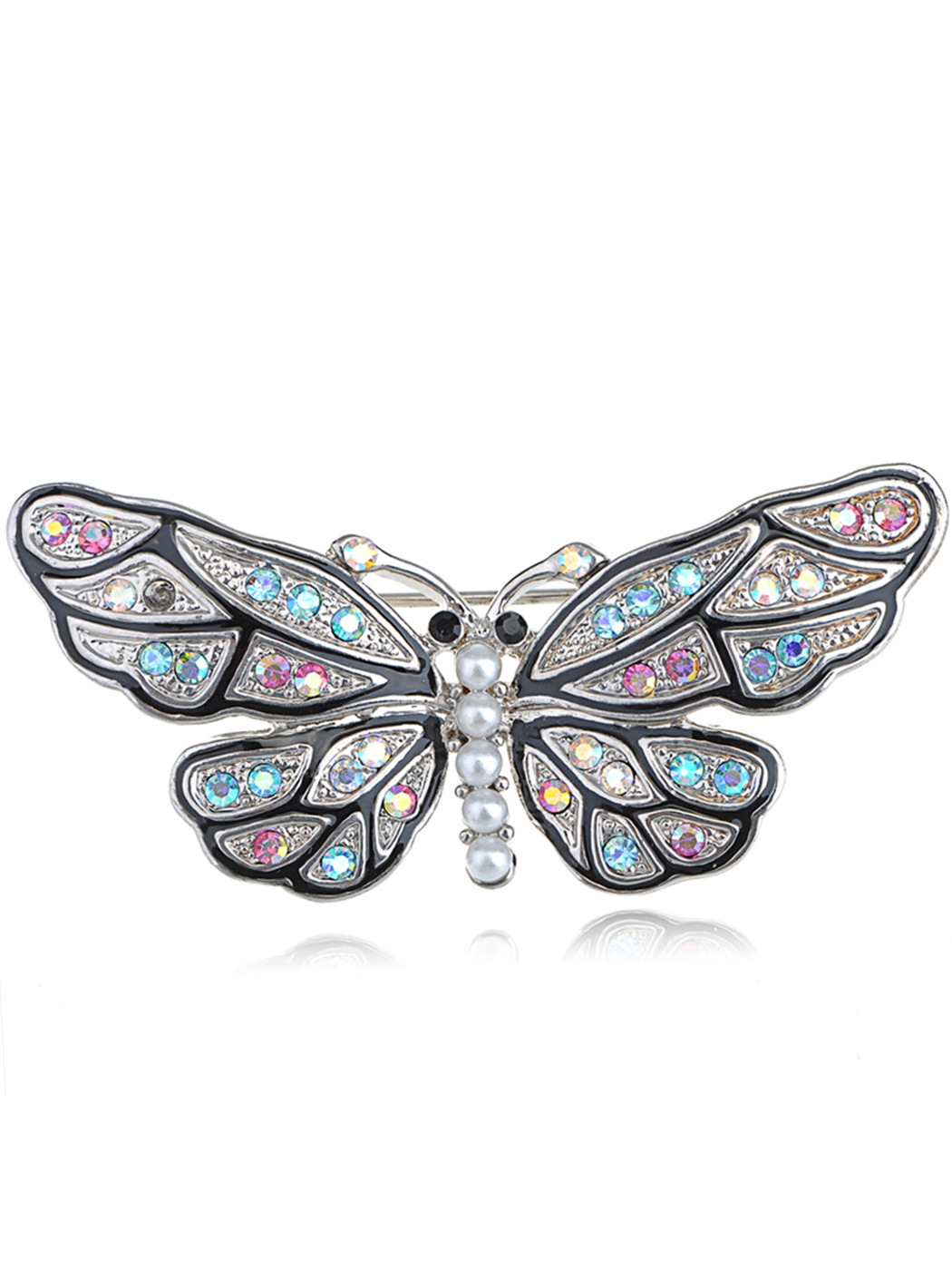 Mosaic Multicolor Crystal Rhinestone Faux Pearl Body Butterfly Moth Pin Brooch