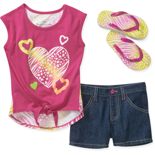 Faded Glory Girls' 3-Piece Front Tie Tee, Short, and Flip Flop Set