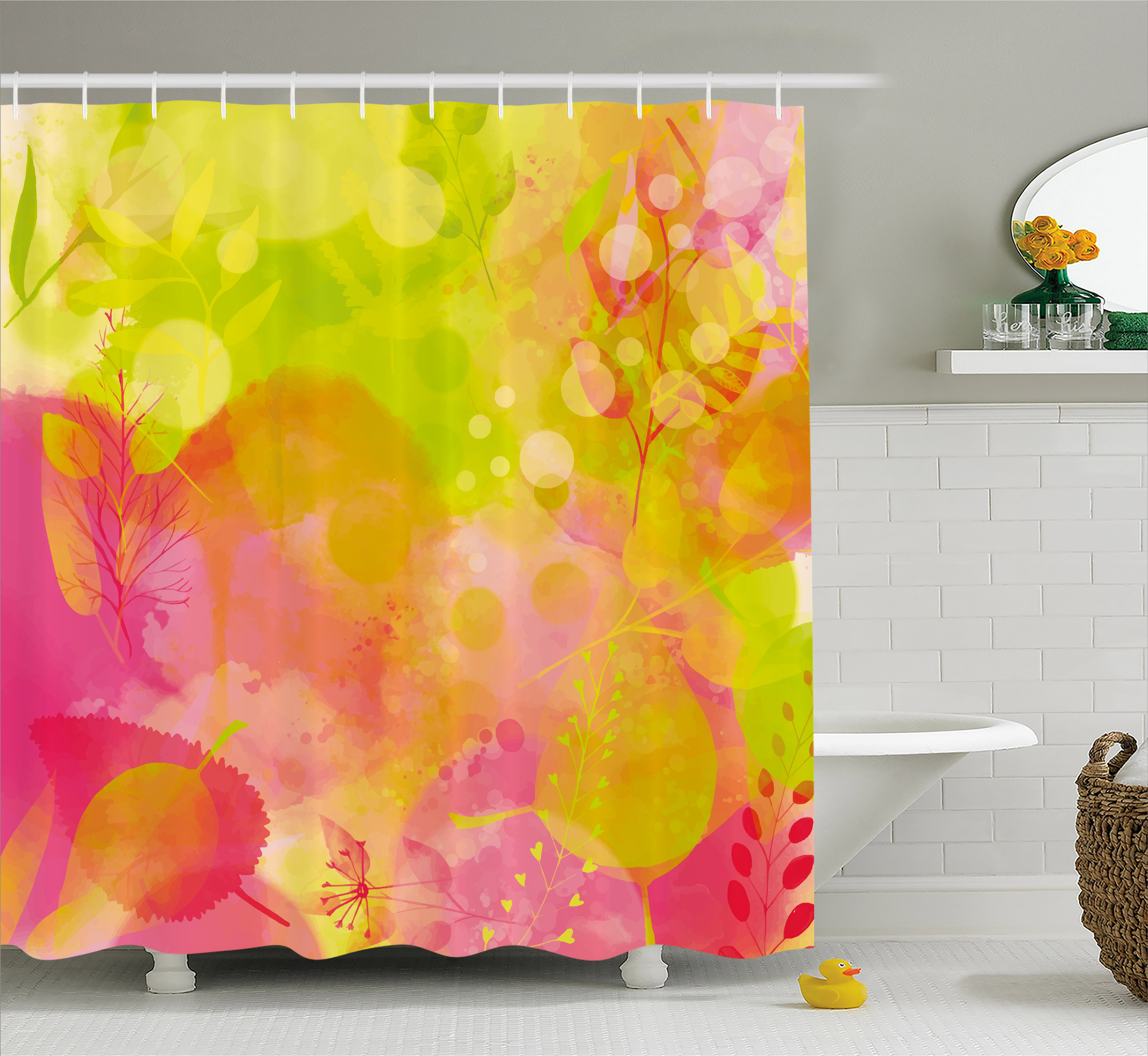 Pastel Shower Curtain Nature Inspired Watercolor Paintbrush Spring Yard Psychedelic Artwork Fabric Bathroom Set With Hooks 69W X 84L Inches Extra Long