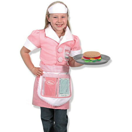 Melissa & Doug Waitress Role Play Costume Set, 7pc, Includes Apron, Order Pad, Cap - Pirate Costume Melissa And Doug