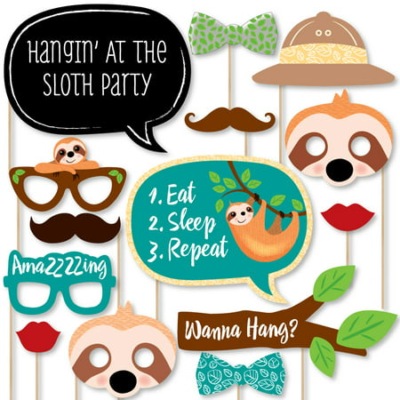 Let's Hang - Sloth - Baby Shower or Birthday Party Photo Booth Props Kit - 20 Count