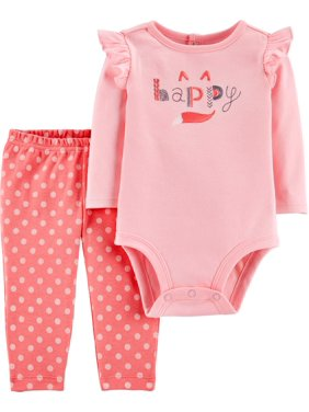 Child of Mine by Carter's Baby Girl Long Sleeve Bodysuit and Pant Outfit Set, 2 pc set