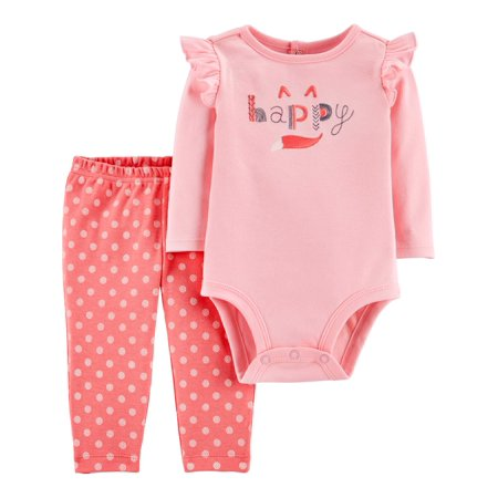 Child of Mine by Carter's Baby Girl Long Sleeve Bodysuit and Pant Outfit Set, 2 pc set ()