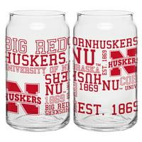 Boelter Brands NCAA Set of Two 16 Ounce Spirit Glass Can Set, University of Nebraska Cornhuskers
