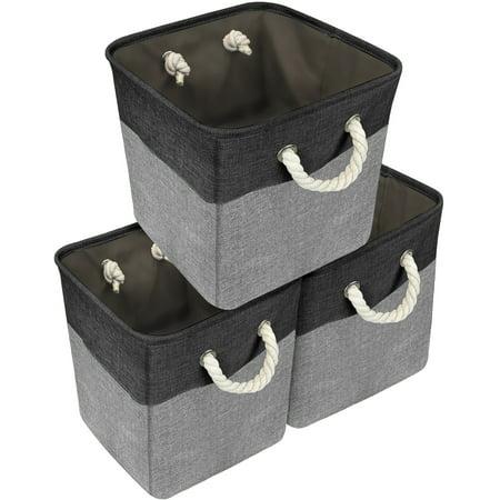 Twill Storage Basket Set (large) - 3 Pack, Black