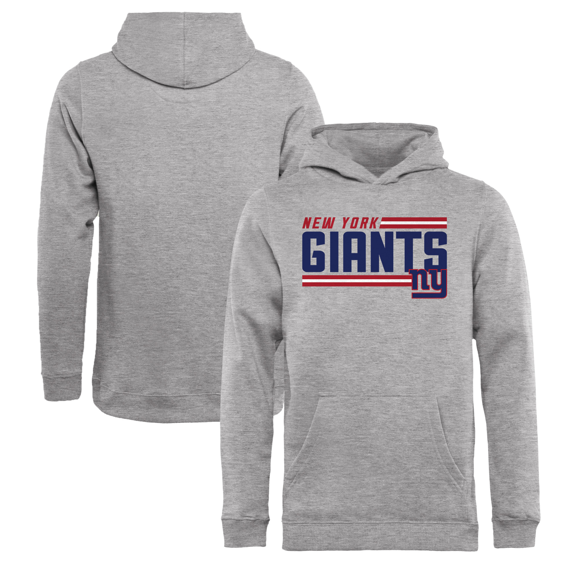 New York Giants NFL Pro Line by Fanatics Branded Youth Iconic Collection On Side Stripe Pullover Hoodie - Ash