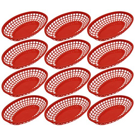 Set of 12 Red Oval Fast Food / Deli Baskets, 9.25 by 5.67-Inch, Red (12)
