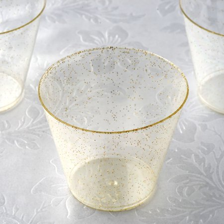 BalsaCircle Glittered Clear 12 pcs 9 oz Disposable Plastic Wine Glasses - Wedding Reception Party Buffet Catering Tableware
