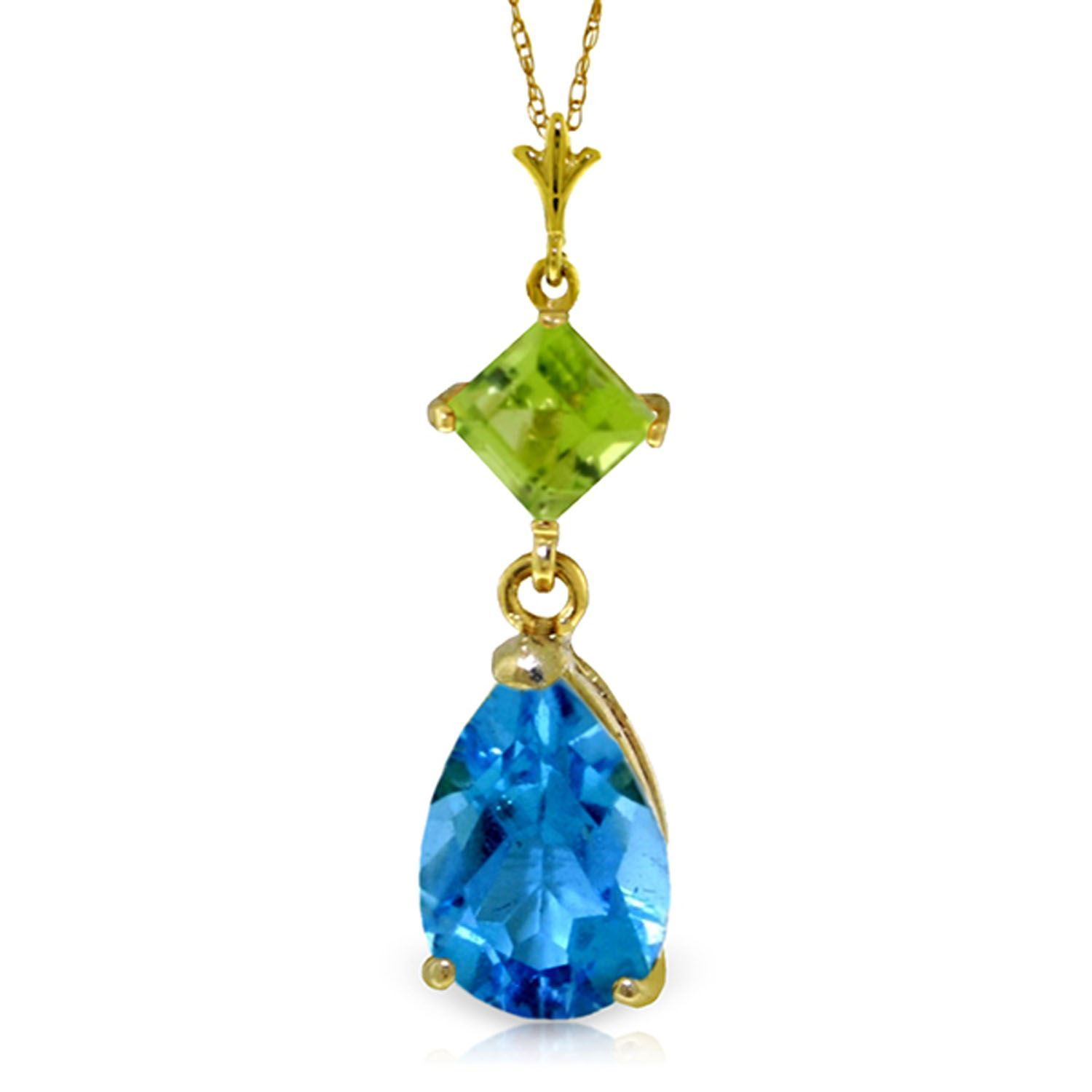 ALARRI 1.15 CTW 14K Solid Gold About A Girl Blue Topaz Necklace with 18 Inch Chain Length