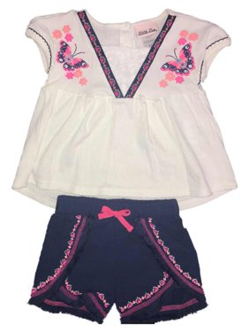 Sleeveless Embroidered Top & Shorts, 2-Piece Outfit Set (Toddler Girls)