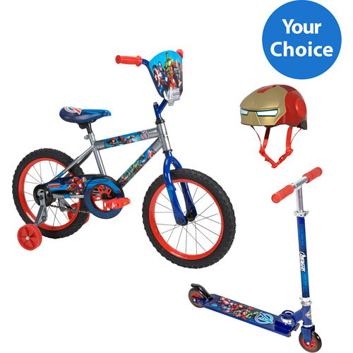 Your Choice: Huffy Marvel Avengers Boy's Bike or Folding Kick Scooter w/ Safety Gears Bundle