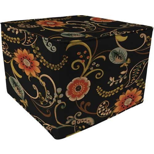 Square Outdoor Floral Pouf Ottoman, Lundsford Onyx