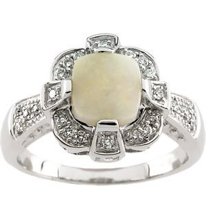 Genuine Opal Cabochon & Diamond Ring 65363 / 14Kt White / 1/5 Ct Tw / Polished / Genuine Opal Cab & Diam Ring