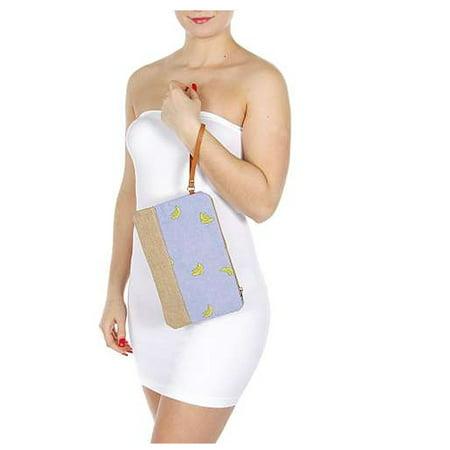 Girls Blue Yellow Banana Print Side Handle Zipper Hand Bag (Banana Handbag)