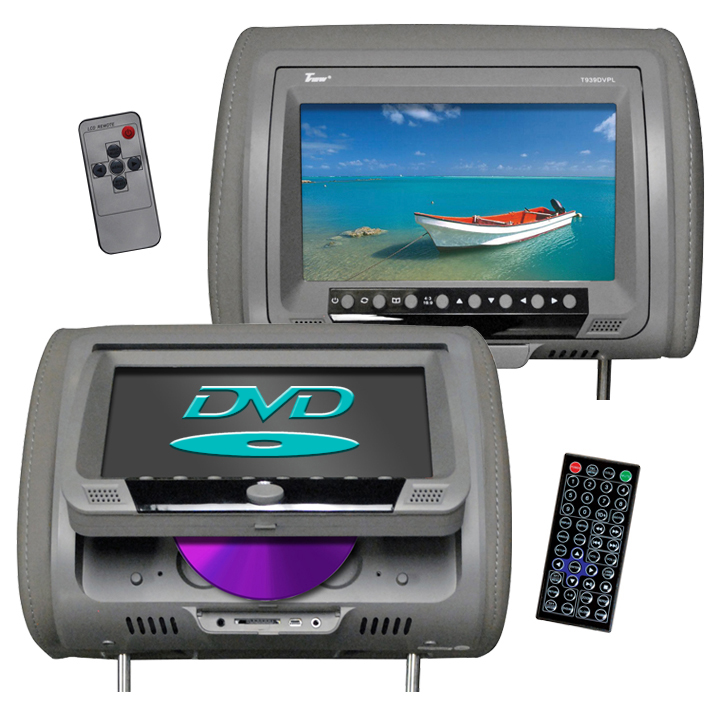 "Tview 9"" Headrest Monitor with DVD Player Sold in Pairs Gray"