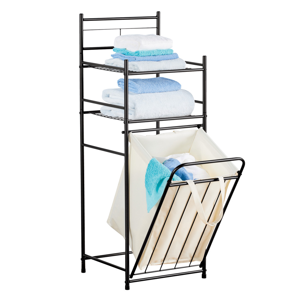 Laundry and Bathroom Organizer with Shelves and Removable Hamper, Portal Metal Black Frame