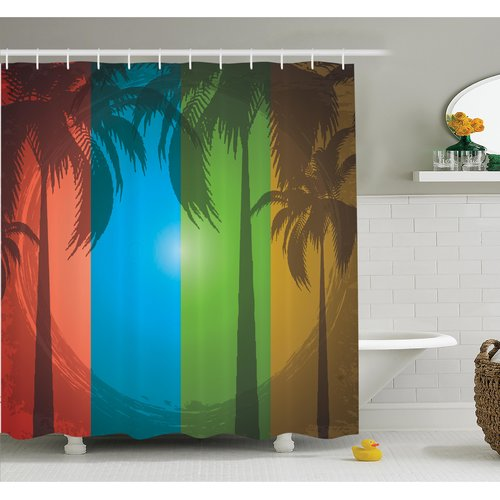 Ambesonne Tropical Palm Trees Bohemian Shower Curtain Set