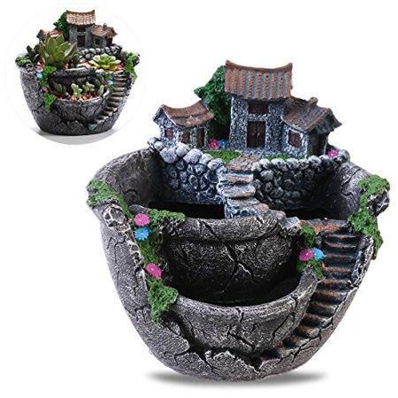 BESTOYARD Plants Pot Creative Plants Pot Mini Fairy Garden and Sweet House for Decoration - Mini Fairy Garden
