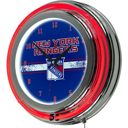 New York Rangers Team Clock - NHL Chrome Double Rung Neon Clock, New York Rangers
