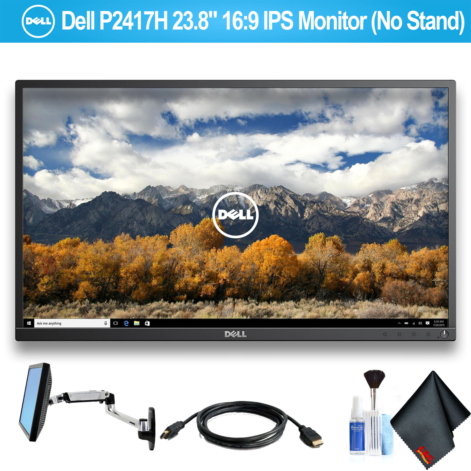 """Dell P2417H 23.8"""" 16:9 IPS Monitor (No Stand) With HDMI Cable and Ergotron 45-243-026 LX Wall Mount LCD Arm"""