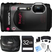 Olympus TG-870 Tough Waterproof 16MP Black Digital Camera 32GB SDHC Memory Card Bundle includes Camera, Case, Card, Reader, Wallet, Mini Tripod, Screen Protectors, Cleaning Kit and Beach Camera Cloth