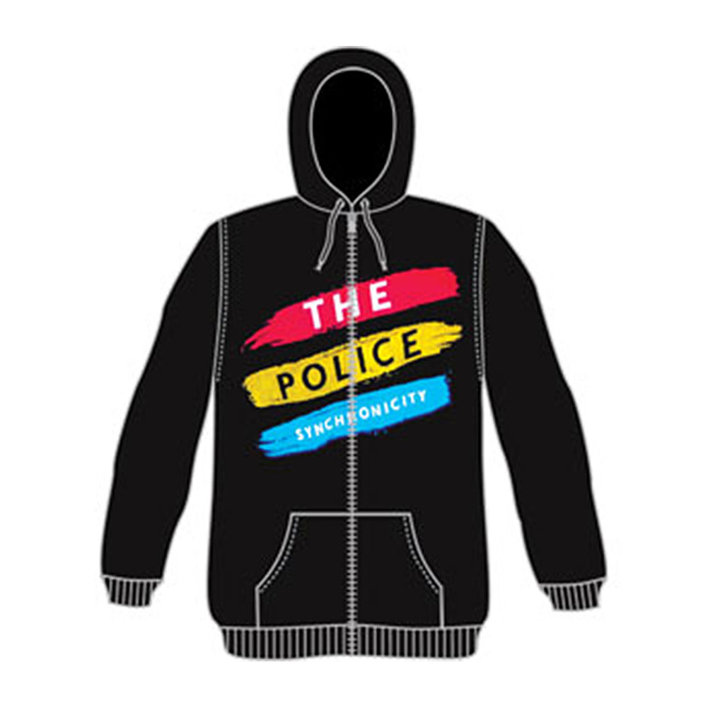 Police Men's  Synchronicity Zippered Hooded Sweatshirt Black