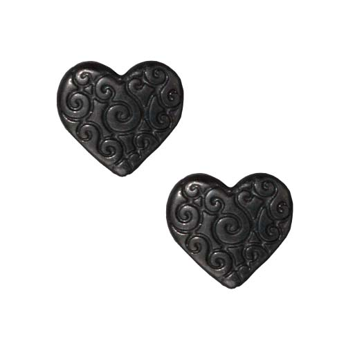 Black Finish Lead-Free Pewter Scroll Puff Heart Beads 10mm (2)