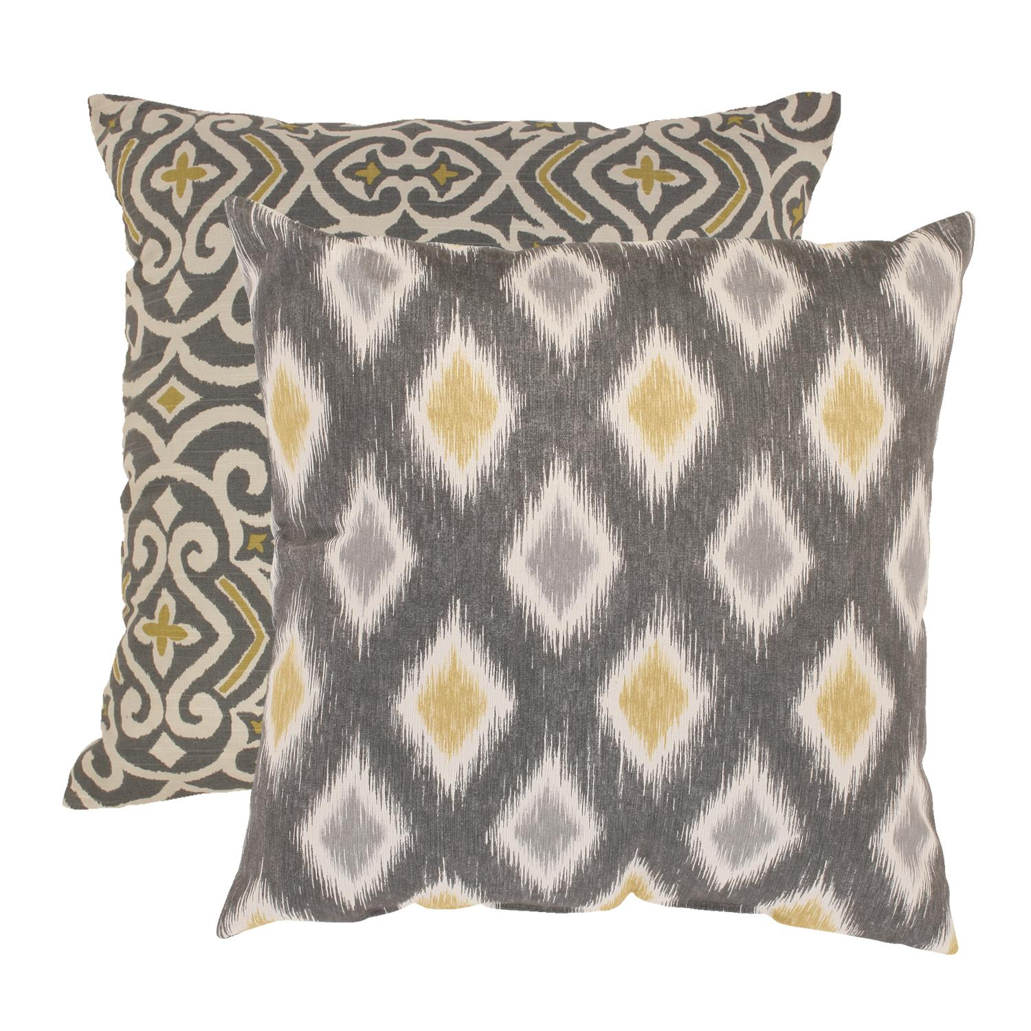 "2 Eco-Friendly Moroccan Flair Graphite and Chartreuse Throw Pillows 18"" x 18"""