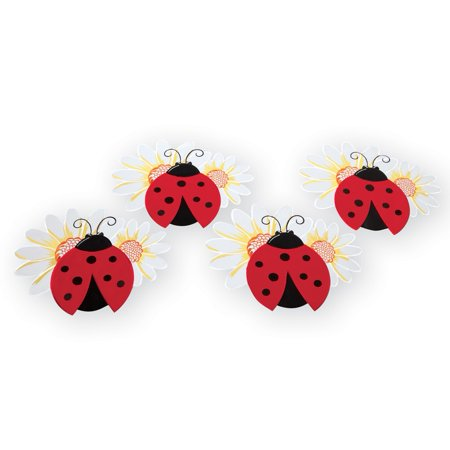 Embroidered Ladybug And Daisy Table Linens Placemats - Summer Home Decor for Dining Room or Kitchen, Placemats ()