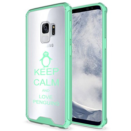 For Samsung Galaxy Clear Shockproof Bumper Case Hard Cover Keep Calm And Love Penguins (Mint For Samsung Galaxy S9+ - Penguin Mints