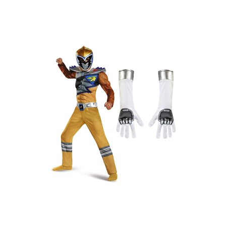 Power Ranger Boys Gold Costume and White Gloves - Gold Ranger