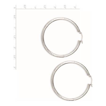 925 Sterling Silver Rhodium-plated 3mm Satin Diamond-cut Hoop (50x52mm) Earrings - image 1 de 2