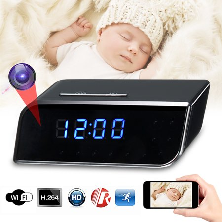 MECO Hidden WiFi Clock Camera Wireless Nanny Cam HD Home Security Camera Mini Baby Monitor Cam Remote View✔Motion Detection✔Night Vision✔Real-time Audio Video (Best Low Light Hidden Camera)