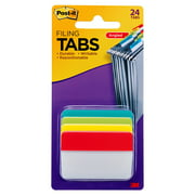 """Post-it Filing Tabs, 2"""" Angled Solid, Assorted Primary Colors, 24 Tabs"""