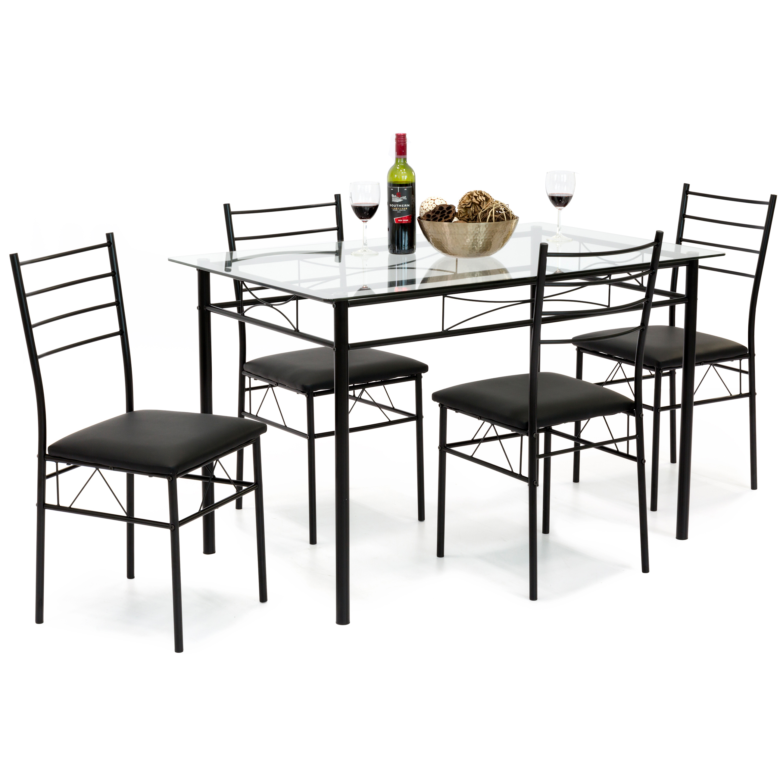 Best Choice Products Home 5-Piece Dining Table Set W/ Glass Table Top, 4 Chairs- Black