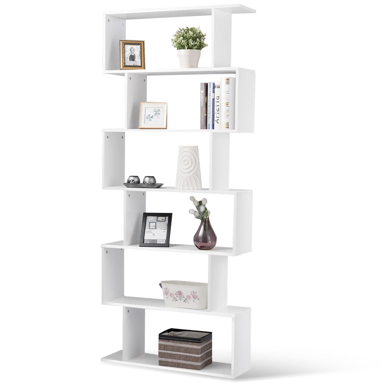 Gymax 6 Tier S Shaped Bookcase Z Shelf Style Storage Display