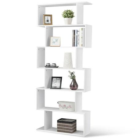 Gymax 6 Tier S Shaped Bookcase Z Shelf Style Storage Display Modern Bookshelf White Walmart Canada