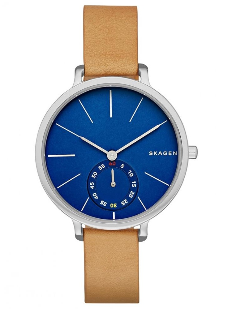 Women's 34mm Brown Leather Band Steel Case Quartz Blue Dial Analog Watch skw2355