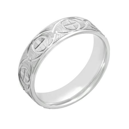 Mens Cross Ring (Men's High Polish 6mm Sterling Silver Cross Design Band, Mens)