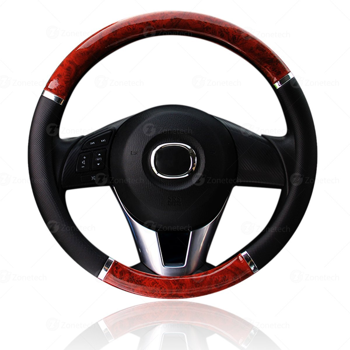 Zone Tech Black and Wood Style Steering Wheel Cover -  Classic Black with Wood Grain Style Cover Perfect for all Standard Size Auto Steering Wheel